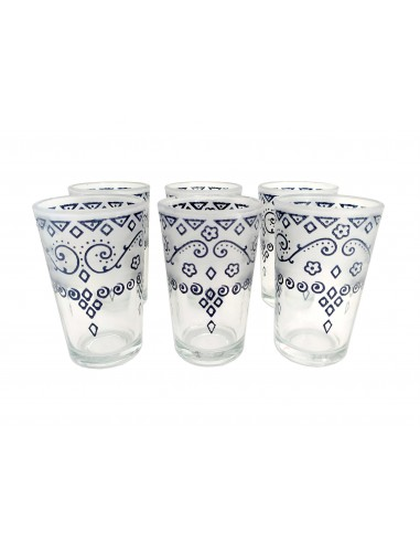 Set of 6 glasses of Moroccan tea glass classic design from Morocco.
